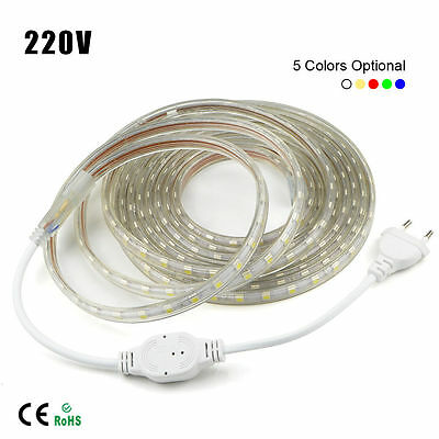 1M-10M Waterproof SMD 5050 LED Strip 220V 230V 60leds/m Flexible tape rope Light