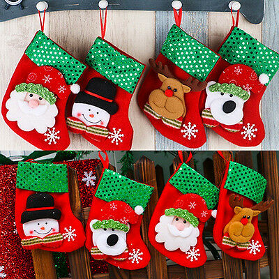 1Pc Christmas Stockings Socks Santa Claus Candy Gift Xmas Hanging Festival Decor