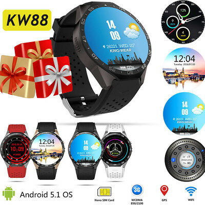 KW88 Smart Watch Android 5.1 Quad Core Bluetooth 3G Google Maps GPS WIFI SMS