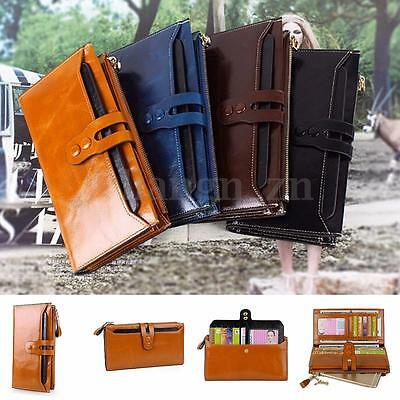 Women Long Genuine Leather Wallet Large Capacity Purse Card/Phone Holder Zip AU
