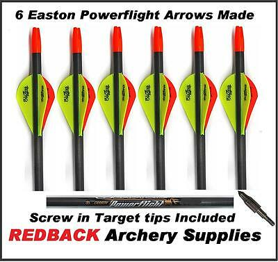 6 Easton Powerflight arrows 300 Spine with Blazer vanes for Archery  Bowhunting