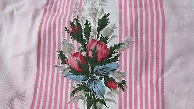 """Beautiful Length Unused Vintage French """"bagatelle"""" Cabbage Roses Cotton Fabric"""