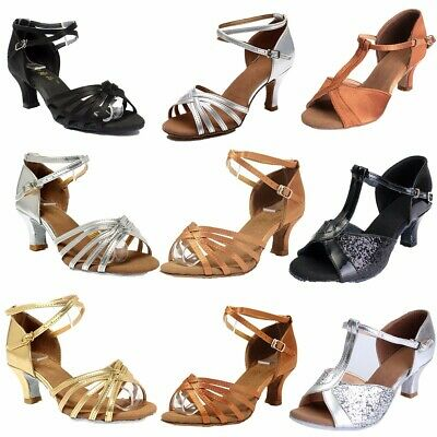 New Womens Girls Ballroom Latin Tango Salsa Tango Heeled Stilettos Dance Shoes