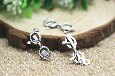 40pcs--Eyeglasses Charms Charms, Silver Spectacles Charms pendants 10x20mm