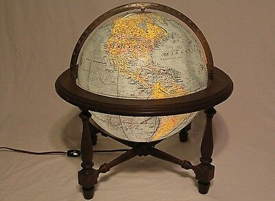 "Replogle Vintage 12"" World Vision Globe Light Up on Wood Stand Glowing Works"