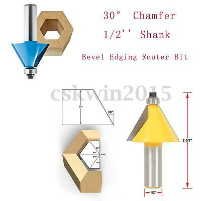 30° Chamfer &Bevel Edging Forming Router Bit 1/2''Shank 2-5/8'' Woodworking Tool