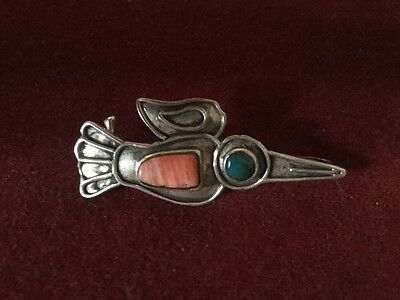Vintage Mexican Silver Bird Brooch Inset With Orange & Green Stone Taxco (?)