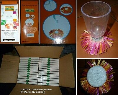 HULA SKIRT COASTERS -BULK LOT - 67 Packs in BOX- 4 coasters per Packet.