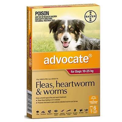 Advocate Dog 10-25KG Red (6 Pack) Flea Heartworm Worm Spot On Treatment Bulk