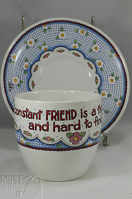 Mary Englebreit Cup & saucer A constant friend is thing rare hard to find