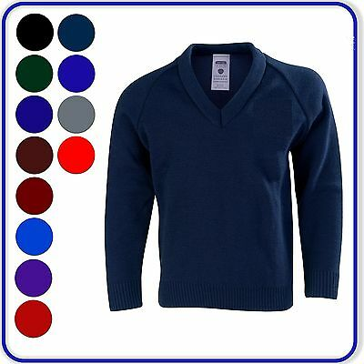 """New Good Quality Boys Girls School V-Neck Knitted Pullovers Sizes 22""""-38""""(2400)"""