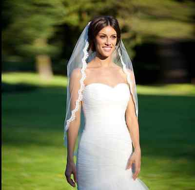 1T  Fingertip Length Lace Edge Bridal Wedding Veil With Comb