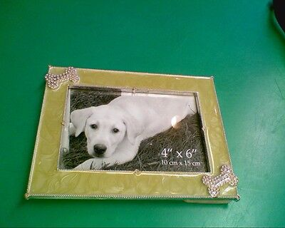 """DOG PICTURE FRAME WITH PINK DOG BONES  4"""" x 6"""""""