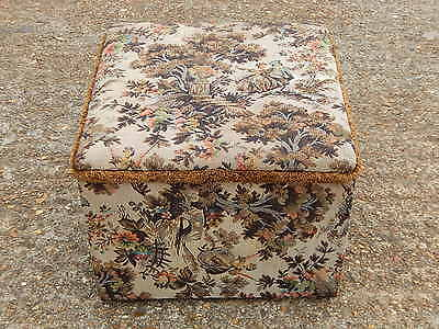 Vintage Sherborne tapestry design footstool pouffe rest with lift lid storage
