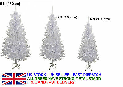 4ft/5ft/6ft White Artificial Christmas Xmas Tree Indoor Decoration Metal Stand