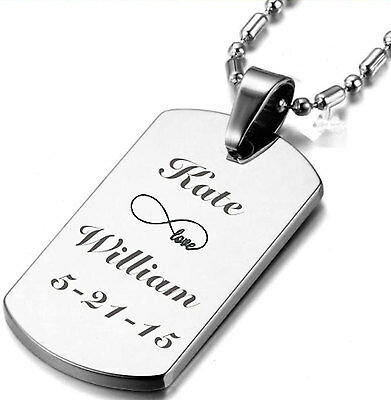 Personalized Stainless Steel Silver Custom Dog Tag Necklace Engraved Free