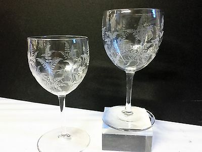 Beautiful RARE Whitefriars E.J. Hillebauer Ferns & Floral Etched Wine Glasses