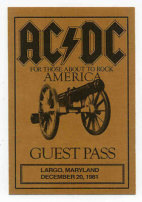 Ac/dc Repro 1981 Largo Maryland 20 Dec Concert Backstage Pass Sticker