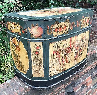 Unusual Large Chinese Painted Blanket Box / Storage Trunk