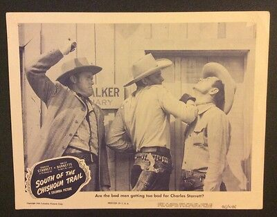 SOUTH OF THE CHISHOLM TRAIL Vintage LOBBY CARD Original 1946 Charles Starrett