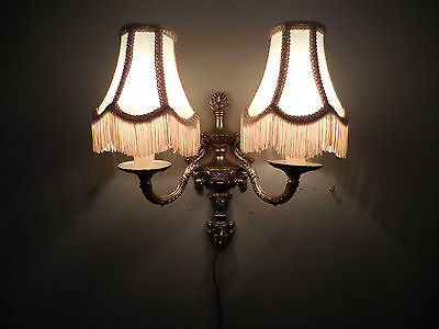 Vtg French Empire Style Dubble Wall Sconce Victorian Bell Shade Candelabra Lamp