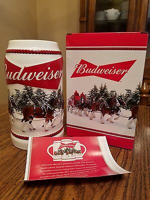 2016 Budweiser Bud Holiday Stein Annual Clydesdale Christmas Beer  NEW  Busch AB