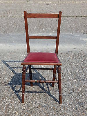 Solid wood vintage hall / desk / dressing table chair with red upholstered seat