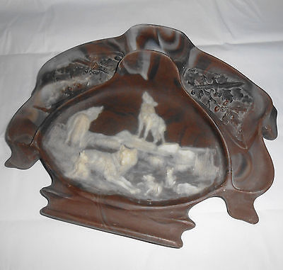 Vintage 1975 Genuine Incolay Stone Dresser Valet Tray Wolf Wolves Den Mother