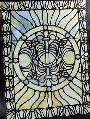 Fancy Antique Stained Glass Window With Jewels 28 By 38
