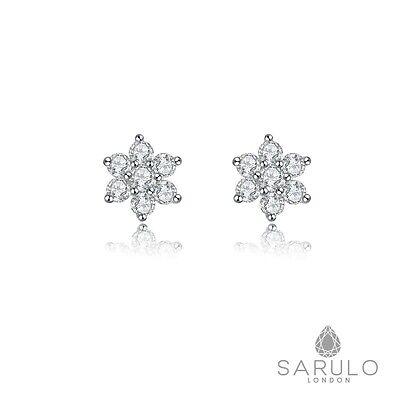 Star Sarulo Earrings 925 Sterling Silver Beautiful New Star White Stud Jewellery