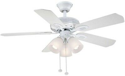 Hampton Bay White Ceiling Fan with Light 42 inch Indoor Standard Mount 5 Blades