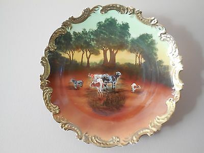 RARE 1890 ROYAL BAYREUTH TAPESTRY PLATE - Cow's & Trees at Duck