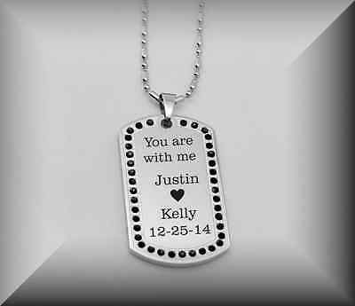Personalized Silver Stainless Steel Black Stone Dog Tag Necklace Engraved Free