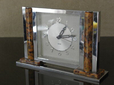 vintage art deco clock alarm jaz retro desk design Mechanics uhr french chrome