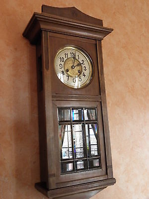 wall Clock wood Antique art deco chime horlogo horloge pendule vintage era