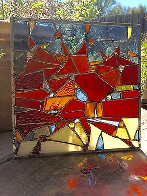 Abstract Contemporary Stained Glass  Window  Suncatcher Panel Transom OOAK