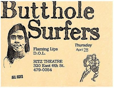 Butthole Surfers +The Flaming Lips Concert Flyer Ritz Theater Austin TX SCARCE