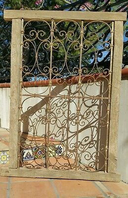 Vintage Antique Window Guard W/ Wood Frame Wrought Iron Fence Gate