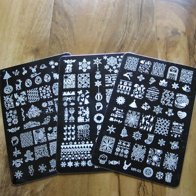 Large Christmas Nail Art Stamping Plate Snowflake Stamp Images Designs Plates...