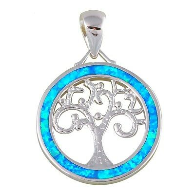 Blue Fire Opal Tree Of Life Silver Plated Pendant Necklace