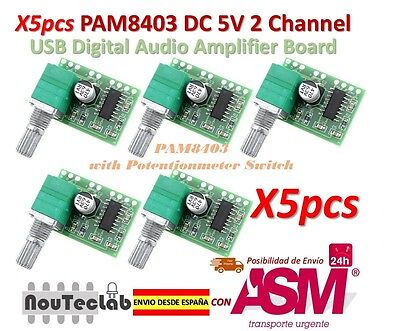 5pcs PAM8403 5V 2 Channel USB Digital Audio Amplifier with Potentionmeter Switch