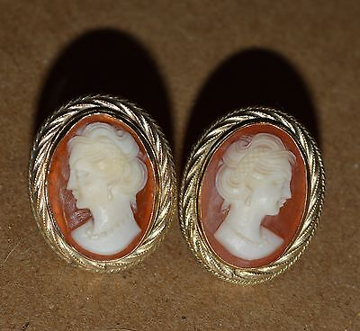Fine Hand Carved SHELL CAMEO EARRINGS Gold Filled Vintage Screwback Signed HSB