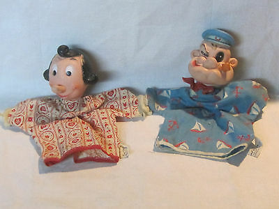 Vintage 1950s Gund Popeye and Olive Oyl hand puppets