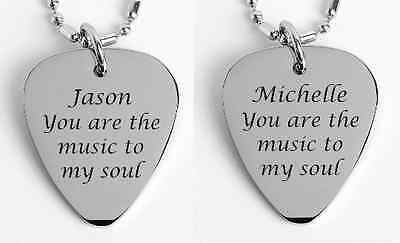 Personalized Silver Stainless Steel Guitar Pick Necklace Set Engraved Free