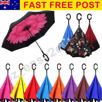 Windproof Double Layer Upside Down Inverted Folding Handle Reverse Umbrella