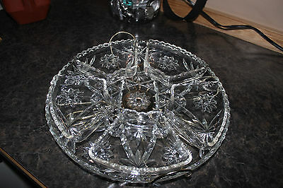 Anchor Hocking Early American Precut Lazy Susan turntable, platter, 5 dishes