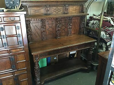Antique Renaissance Revival Carved Sideboard Server Gothic