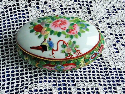 ANTIQUE PORCELAIN ORIENTAL ASIAN CHINESE TRINKET BOX Bird Flowers RARE Marked