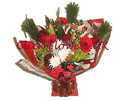 Fresh Flowers Delivered Christmas Spice Florist Choice Mixed Bouquet