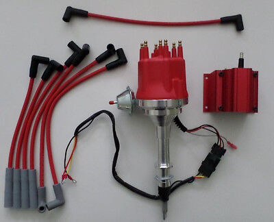 Small Cap AMC/JEEP INLINE 6 232-258 HEI Distributor +RED Spark Plug Wires + COIL